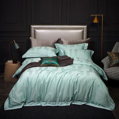 新款高级定制系列-100支全棉提花四件套 1.5m床单款四件套 格雷 翠绿