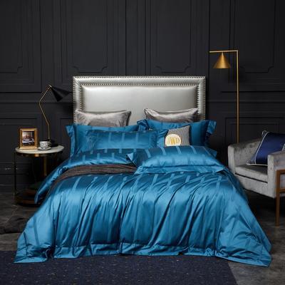 新款高级定制系列-100支全棉提花四件套 1.5m床单款四件套 马德里 孔雀蓝