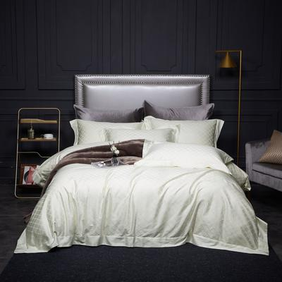 新款高级定制系列-100支全棉提花四件套 1.5m床单款四件套 梅丽莎 本白