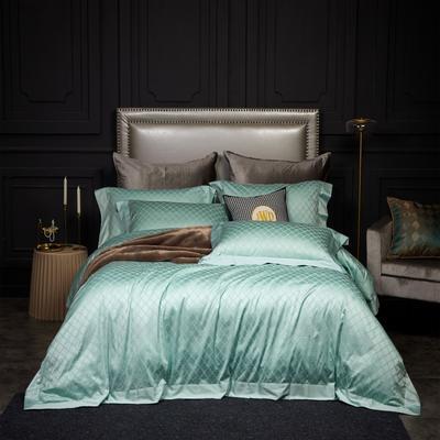 新款高级定制系列-100支全棉提花四件套 1.5m床单款四件套 梅丽莎 翠绿