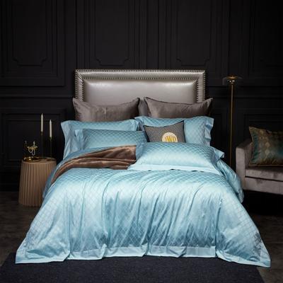 新款高级定制系列-100支全棉提花四件套 1.5m床单款四件套 梅丽莎 浅蓝