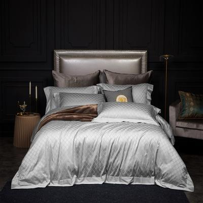 新款高级定制系列-100支全棉提花四件套 1.5m床单款四件套 梅丽莎 银灰
