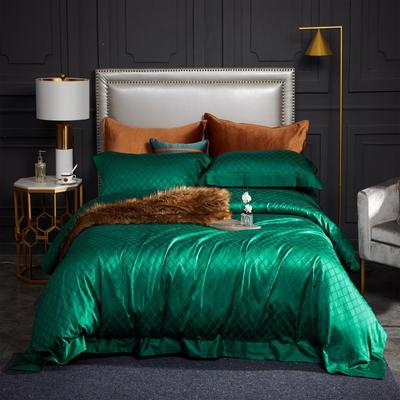 新款高级定制系列-100支全棉提花四件套 1.5m床单款四件套 梅丽莎 祖母绿