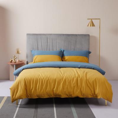 2019新款暖绒高级定制系列四件套-拾光 1.8m床单款四件套 拾光 蓝黄
