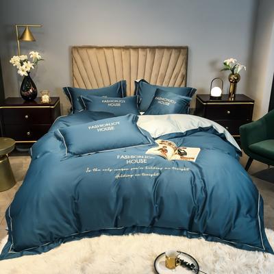 2020新款60长绒棉凯西带边款四件套 1.8m床单款四件套 月光蓝+梵星蓝