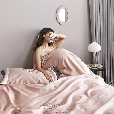 2020新款60长绒棉撞色拼接+绣花安娜四件套模特图 1.8m床单款四件套 安娜  浅豆沙