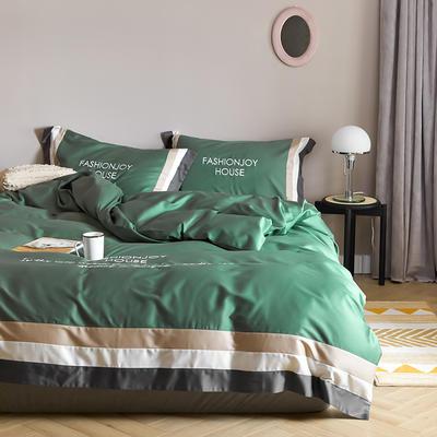 2020新款60长绒棉撞色拼接+绣花安娜四件套模特图 1.8m床单款四件套 安娜 松石绿