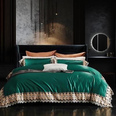 2020新款高精密蕾丝系列四件套 1.5m床单款四件套 凯瑟琳 墨绿