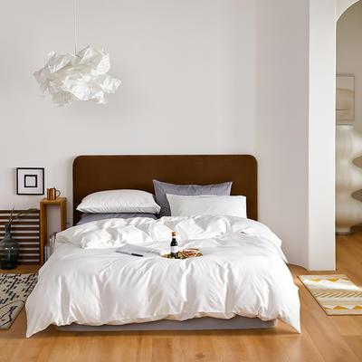 2020新款60长绒棉纯色四件套 1.8m床单款四件套 白色