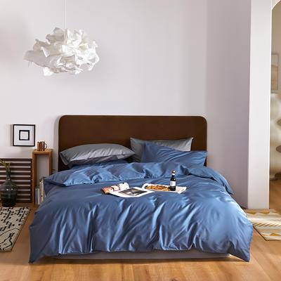 2020新款60长绒棉纯色四件套 1.8m床单款四件套 宝蓝