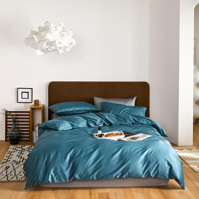 2020新款60长绒棉纯色四件套 1.8m床单款四件套 湖蓝