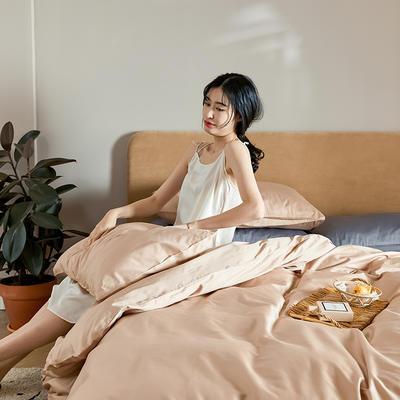 2020新款60长绒棉纯色四件套 1.8m床单款四件套 浅咖