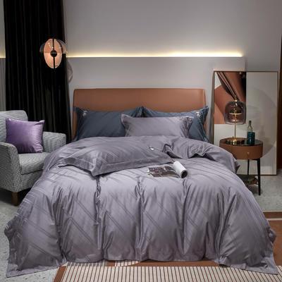 2020新款100支全棉提花四件套佩里 1.8m床单款四件套 佩里 魅力紫