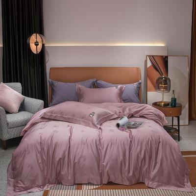 2020新款100支全棉提花四件套佩里 1.8m床单款四件套 佩里 桃粉色
