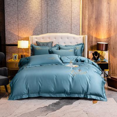 2020新款120支简约刺绣系列四件套小蜜蜂 1.8m床单款四件套 石墨蓝