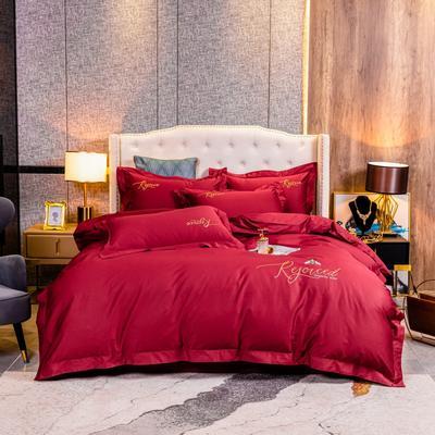 2020新款120支简约刺绣系列四件套小蜜蜂 1.8m床单款四件套 艳红