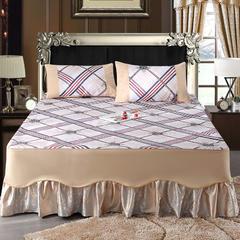 冰丝席床裙款 三件套 可机洗凉席 可水洗凉席 冰丝席 冰丝凉席1.5米1.8米 1.5m(5英尺)床 金色年华