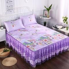 可水洗冰丝凉席三件套1.8米床裙款夏季空调席子1.5 1.5m(5英尺)床 叶叶情思紫