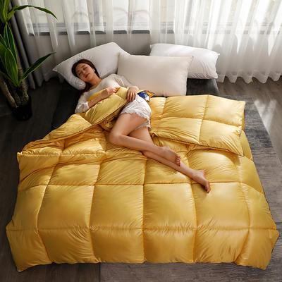 2020新款纯色羽丝绒绗缝被子被芯 150x200cm(5斤) 鹅黄