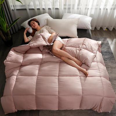 2020新款纯色羽丝绒绗缝被子被芯 150x200cm(5斤) 玫瑰金