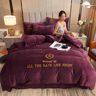 2020新款水晶绒刺绣四件套 1.5m床单款四件套 蒂芙尼 富贵紫