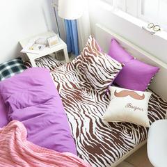 彩窝窝磨毛斑马系列(MZ系列)套件 小号1.2m三件套床单款 MZ亮紫
