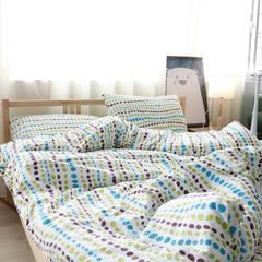 彩窝窝家纺磨毛独版系列套件 小号1.2m四件套床单款 彩点