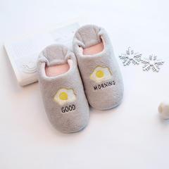 软绵绵字母刺绣家居鞋 M(38-39) 荷包蛋 灰