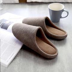 彩窝窝家纺K2004纯色针织拖鞋 XL(42-44) 棕色