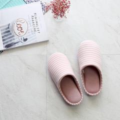彩窝窝家纺K2006条纹针织哈拖鞋 M(38-39) 粉色