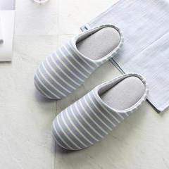 彩窝窝家纺K2006条纹针织哈拖鞋 M(38-39) 蓝色