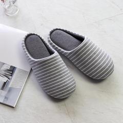 彩窝窝家纺K2006条纹针织哈拖鞋 L(40-41) 灰色