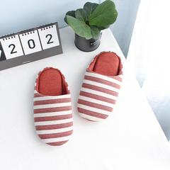 彩窝窝家纺Z1701胖条纹拖鞋 S(36-37) 暗红