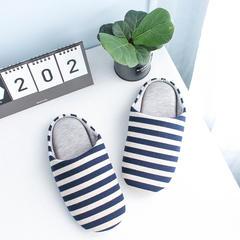 彩窝窝家纺Z1701胖条纹拖鞋 XL(42-44) 深蓝