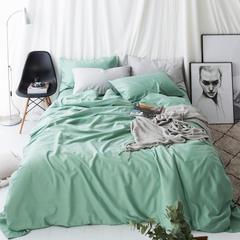 2018新款纯色天丝棉麻四件套 1.2m床单款三件套 草绿