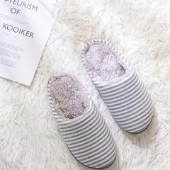 2018新款条纹加绒家居鞋-女款 S(36-37) 灰色
