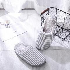 2018新款条纹加绒家居鞋-男款 L(40-41) 灰色