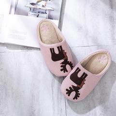 2018新款圣诞麋鹿贴布绣家居鞋-女款 S(36-37) 粉色