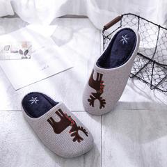2018新款圣诞麋鹿贴布绣家居鞋-男款 L(40-41) 灰色