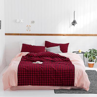 2019新款SK全棉32支色织水洗棉四件套 1.8m床单款 SK红小黑