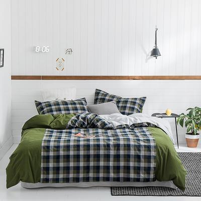 2019新款SK全棉32支色织水洗棉四件套 1.8m床单款 SK军绿格
