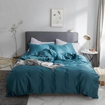2019新款60支純色基礎款四件套 枕套 深藍灰