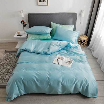 2019新款60支純色基礎款四件套 枕套 天藍