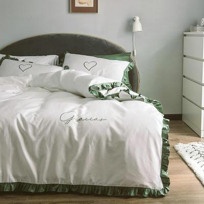 2019新款60S长绒棉四件套荷叶边款式 1.2m床单款三件套 伯根绿白花边款