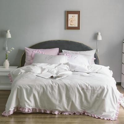 2019新款60S长绒棉四件套荷叶边款式 1.2m床单款三件套 明亮粉白花边款