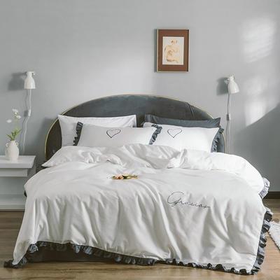 2019新款60S长绒棉四件套荷叶边款式 1.2m床单款三件套 深灰白色花边款