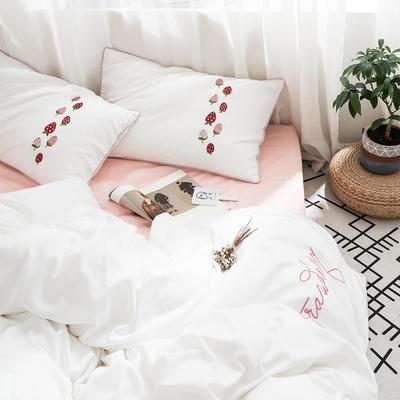 2019新款60长绒棉四件套刺绣款-水果系列 1.2m床单款三件套 60刺绣草莓