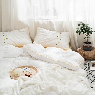 2019新款60长绒棉四件套刺绣款-水果系列 1.2m床单款三件套 60刺绣柠檬