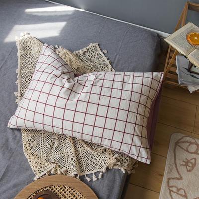 2020新款格子枕套 48cmX74cm/只 紅線格子枕套