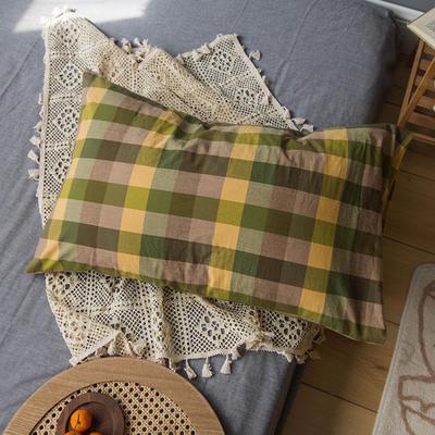 2020新款格子枕套 48cmX74cm/只 黄绿格子枕套